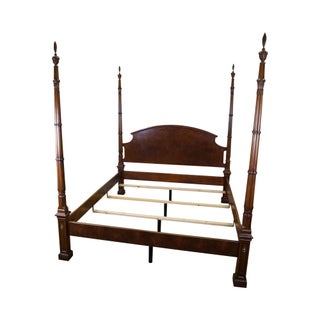 Burl Walnut California King Size Chippendale Poster Bed