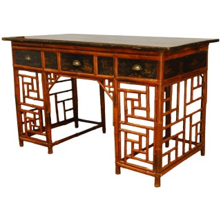 Chinese Lacquered Bamboo Chinoiserie Desk