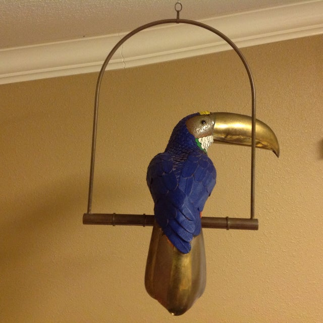 Image of Tucan on a Perch Brass, Copper and Leather