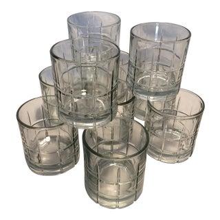 10 Anchor Hocking Crystal Plaid Lo-ball Glasses