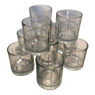 10 Anchor Hocking Crystal Plaid Lo-ball Glasses