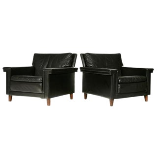 1960s Danish Black Leather Lounge Chairs - A Pair