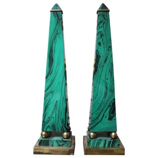 Pair of Faux Malachite Enameled Brass Obelisks