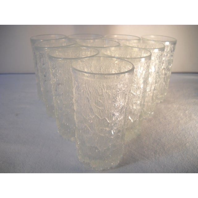 Danish Modern Ice-Textured Glasses - Set of 10 - Image 2 of 8