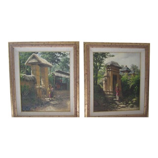 "Bali ""In the Morning"" & ""At Dusk"" Oil Paintings - A Pair"