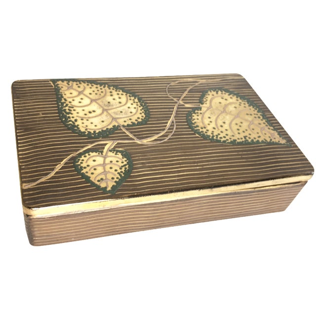 Hand-Painted Leaf Motif Trinket Box - Image 1 of 5