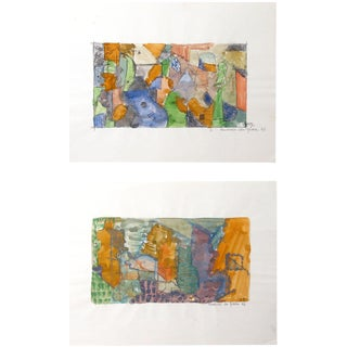 French Abstract Watercolor Paintings by Bordinas - A Pair