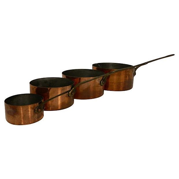 Image of Metaux-Ouvres-Vesoul French Copper Pots - S/4