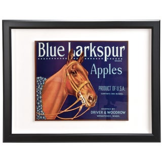 Framed Vintage Blue Larkspur Apples Crate Label