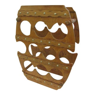 1960s Barrel Shape 10 Bottle Oak Wine Holder