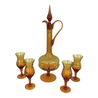 Vintage Amber Glass Decanter & 4 Liquor Glasses