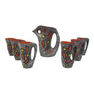 Le Vaucour Vallauris French Ceramic Pitcher & 6 Cups