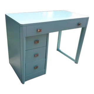 Sky Blue Wooden Expandable Desk