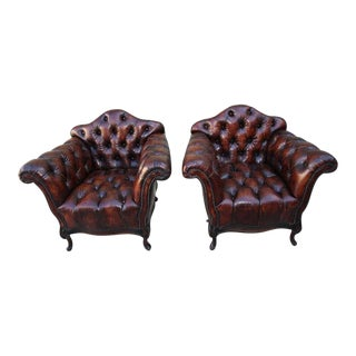 French Leather Tufted Armchairs - A Pair