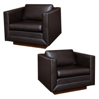 Gunlocke Vintage Leather Club Chairs