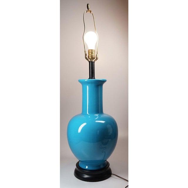 Image of Vintage Turquoise Asian Ceramic Lamp
