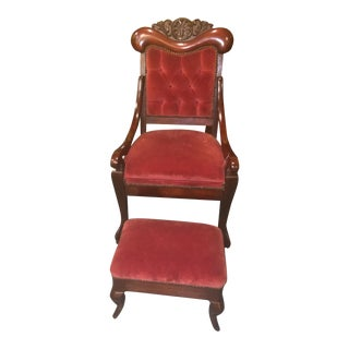 Antique Empire Style Red Upholstered Chair and Ottoman Set