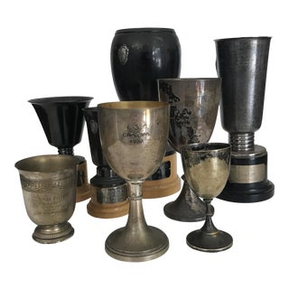 1930s Vintage Silver Plate Trophies - Set of 8