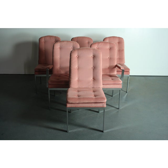 Milo Baughman for DIA Blush Dining Chairs - S/6 - Image 6 of 12