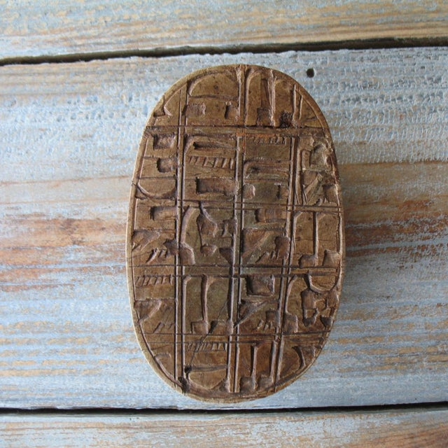 Vintage Egyptian Stone Scarab with Carved Glyphs - Image 6 of 6