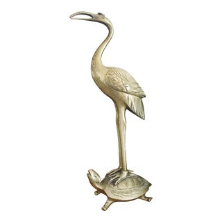 Vintage Mid-Century Brass Crane Turtle Statue