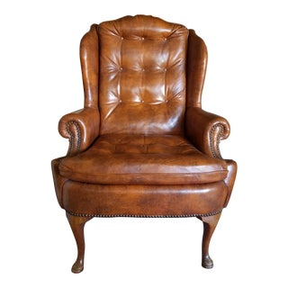 """""""Classic Leather"""" Wingback Chair"""