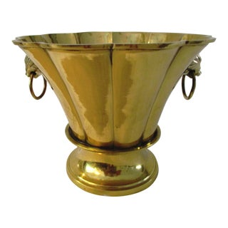 Vintage Brass Ringed Lion Cachepot