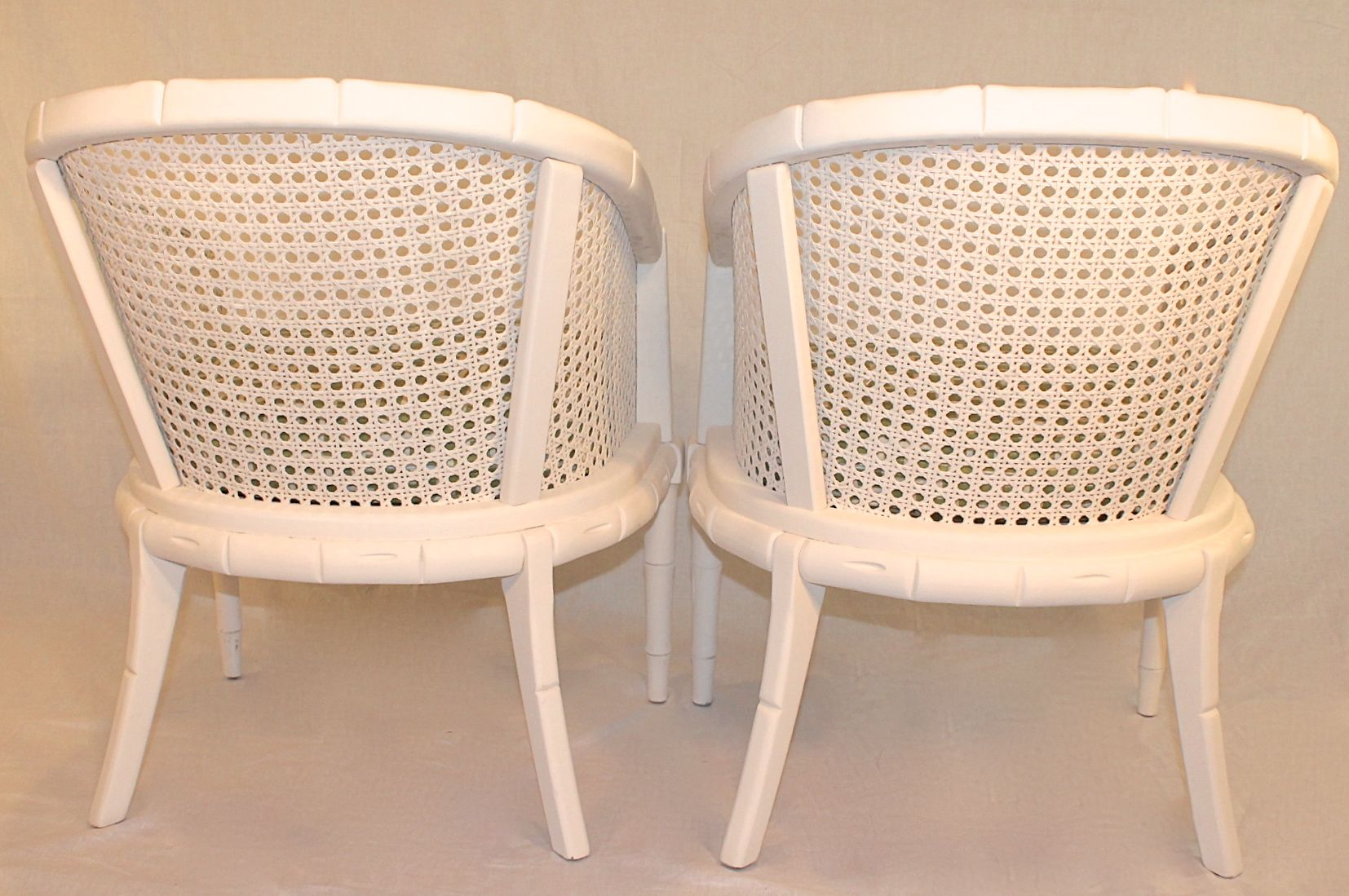 Vintage Off White Faux Bamboo Chairs   A Pair   Image 5 Of 7