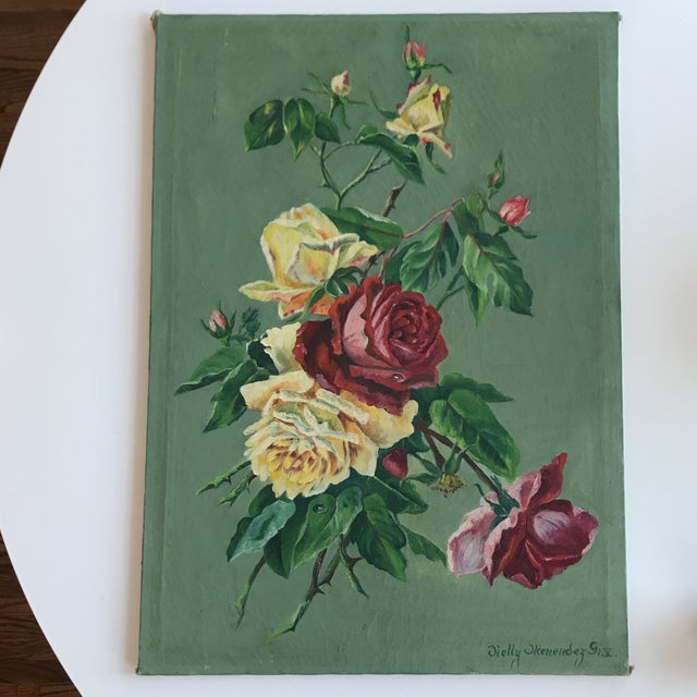 Vintage Still Life Rose Painting - Image 8 of 8