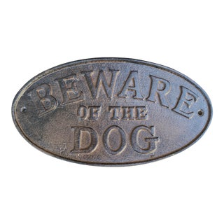 Large Iron 'Beware of The Dog' Sign