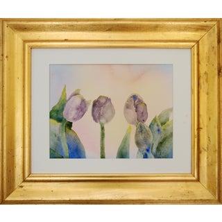 Tulip Watercolor in Gold Frame