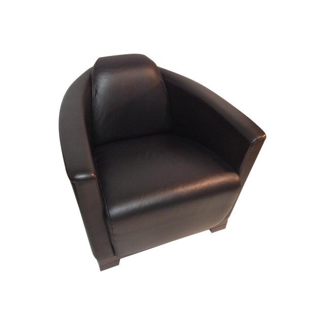 black leather italian club chair chairish