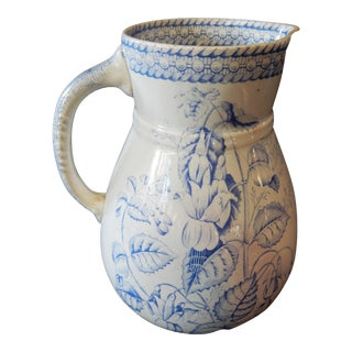 Antique LG Blue and White English Pitcher