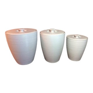 White Emeril Chef's Wedgewood Canisters - Set of 3
