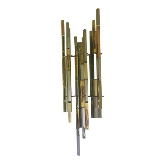 R H Berger Mid-Century Abstract Brutalist Skyscraper Multi-Metal Large Wall Sculpture