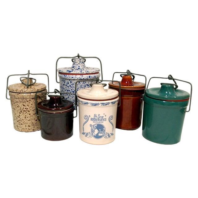 Vintage Latch Top Crock Jars- Set of 6 - Image 1 of 5
