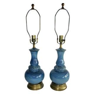 1970s Blue Ombré Lamps- A Pair