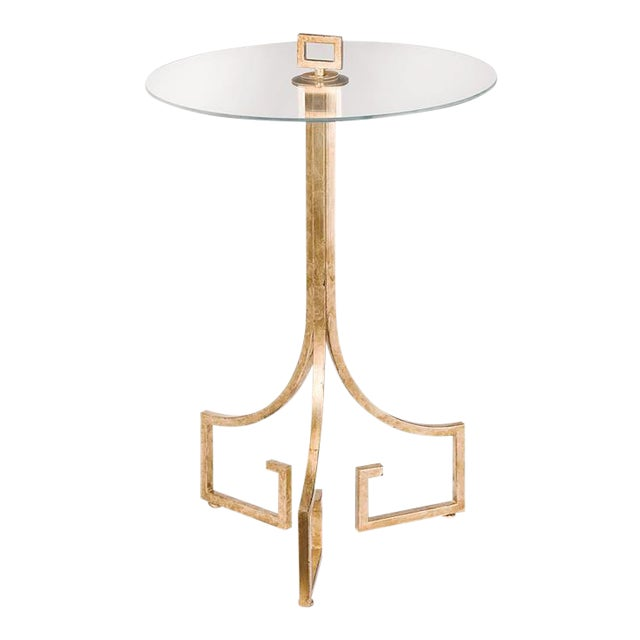 Greek Key Motif Gold Side Table - Image 1 of 6