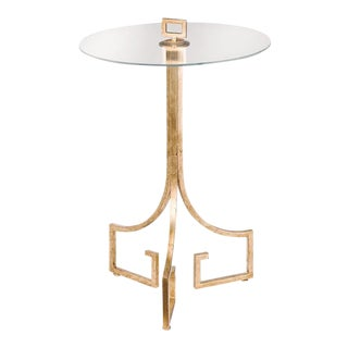 Greek Key Motif Gold Side Table