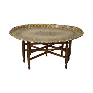 Moroccan Scalloped Brass Tray Top Coffee Table