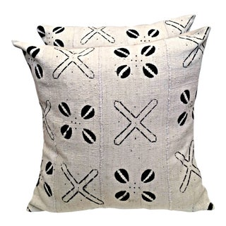 White and Black Mud Cloth Pillow Covers - a Pair