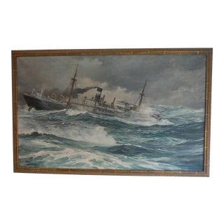 Anton Otto Fischer Original Oil on Canvas Ship Painting