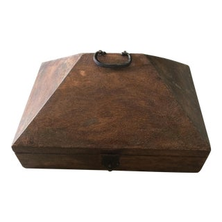 Vintage Malabar Primitive Pyramid Wooden Lock Box