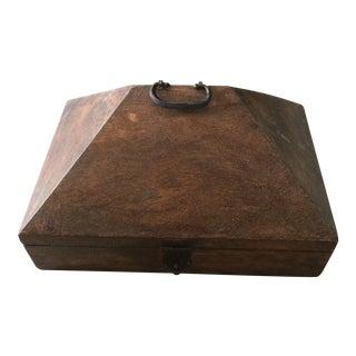 Primitive Pyramid Wooden Lock Box