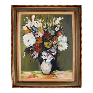 Large 1950s Colorful Floral Still Life by Navaira