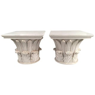 Pair of Carved and Painted Wood Neoclassical Column Capital Tables