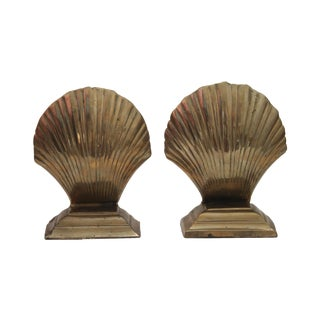 Brass Scallop Shell Bookends - A Pair