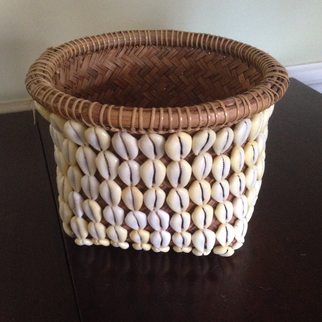 Vintage Woven Shell Basket - Image 3 of 11