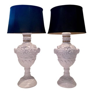 1960's Neoclassical Lavender Lacquered Cherub & Rams Lamps - A Pair