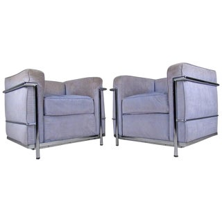 Mid-Century Modern Le Corbusier Style Lounge Chairs - A Pair